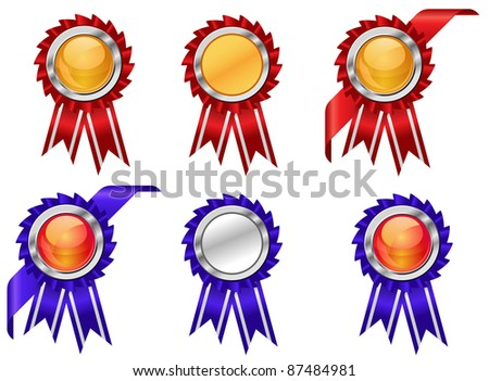 Set of award symbols with ribbons isolated on white background. Vector version also available in gallery