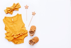 Set of baby stuff and accessories on white background. Baby shower concept. Fashion newborn. Flat lay, top view