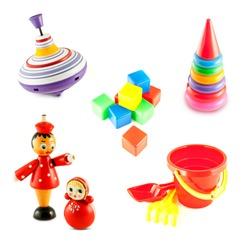set of baby toys isolated on white background