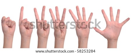 set of back woman hands counting from zero to five (isolated on white background)
