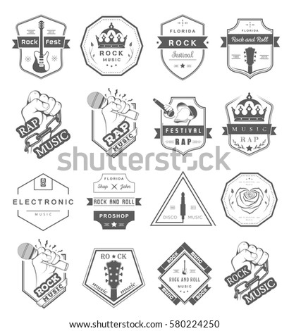 Set Of Badges And Logos Of Rock Music And Rap Classical Music