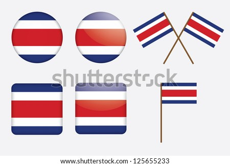 set of badges with flag of Costa Rica