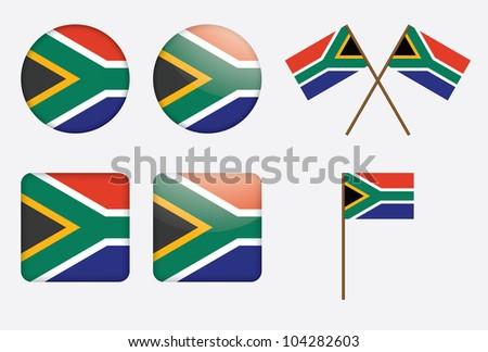 set of badges with South Africa flag illustration