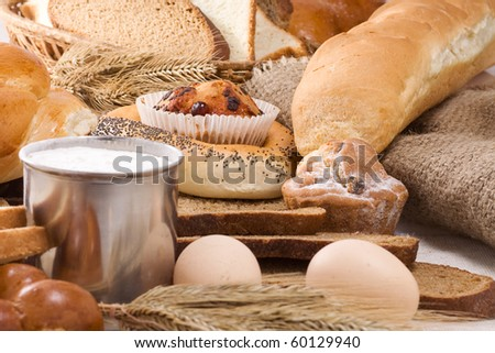 set of bakery products on sack - stock photo