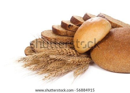 set of bakery products on white