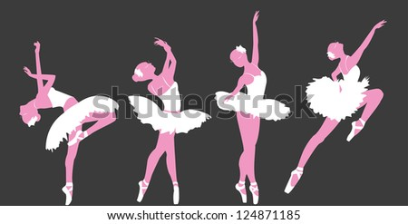 Set of ballet dancers silhouettes.
