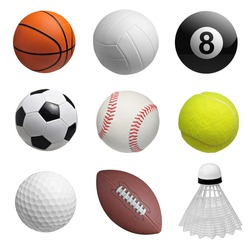 Set of balls isolated on white background