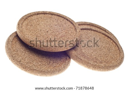 Set of Bamboo Coasters Isolated on White with a Clipping Path.