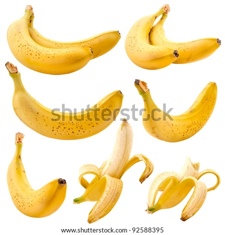 Set of bananas isolated on white background