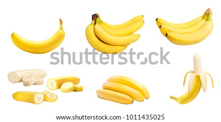 Set of bananas whole and slices isolated on white background. Clipping path included