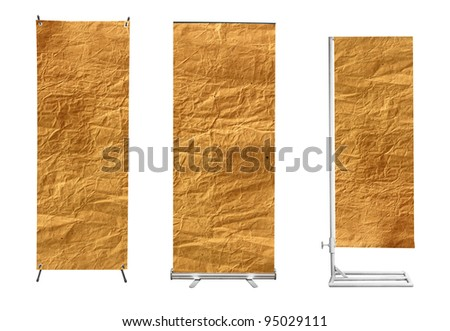 Set of banner advertising display with Brown paper background ready for use