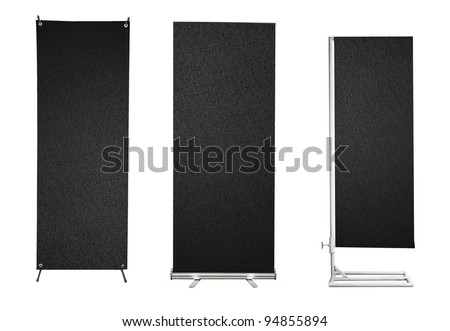Set of banner stand display with Black PVC plastic texture ready for use