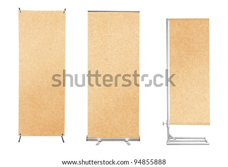 Set of banner stand display with Brown paper background ready for use - stock photo