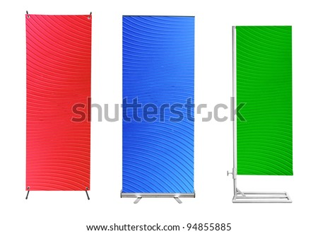 Set of banner stand display with plastic background ready for use