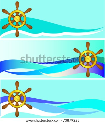 Set of banners with a steering wheel and waves