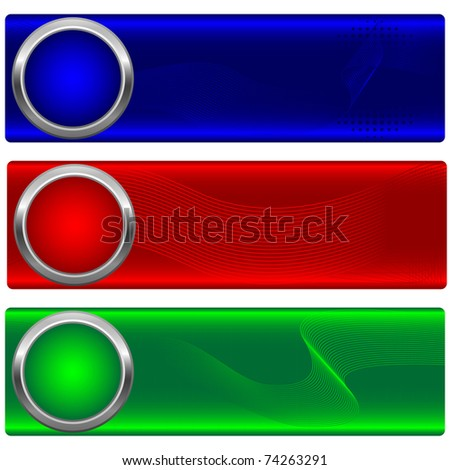 Set of banners with button and waves. Similar image in vector format  in my portfolio.