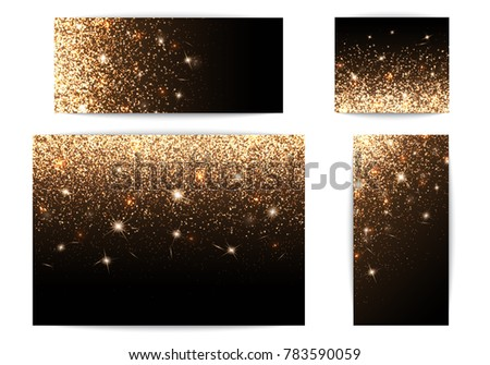 Set of banners with sparkles on a black background