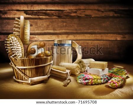 set of bathing items