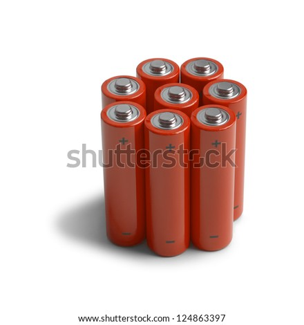 set of batteries isolated in white background