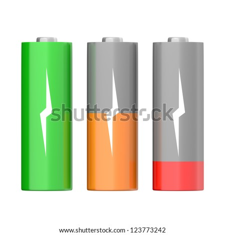 Set of batteries with different charging levels, isolated on white background
