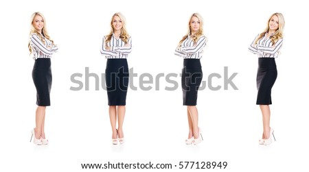 Set of beautiful, attractive businesswoman isolated on white. Business, career success concept. #577128949