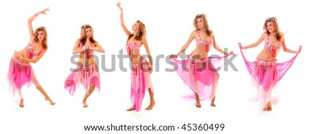 Set of beautiful belly dancer isolated on a white background