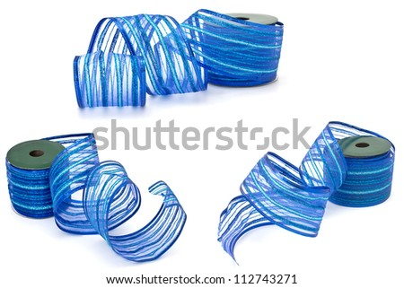 Set of beautiful blue ribbon isolated on white background. Each image was made separately