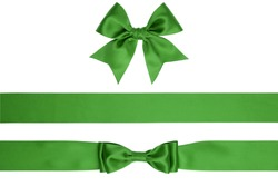 Set of beautiful bows and ribbons isolated on white