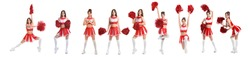 Set of beautiful cheerleader on white background