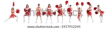 Set of beautiful cheerleader on white background ストックフォト ©