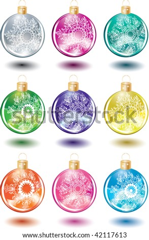 Set of beautiful Christmas glass balls with decoration