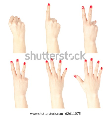 Set of beautiful female hands showing numbers isolated on white