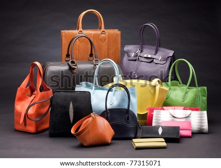 Set of beautiful leather handbags for your choice