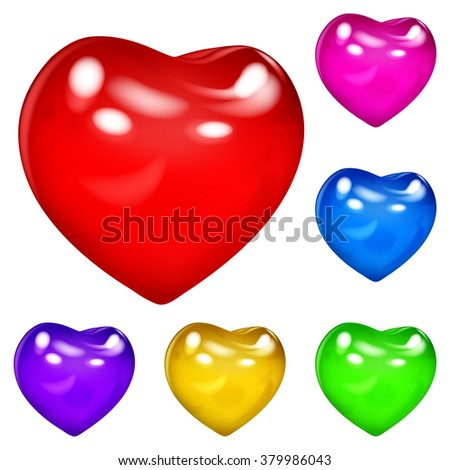 Set of beautiful opaque glossy hearts in various colors in white background #379986043