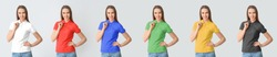 Set of beautiful young woman in colorful polo shirts on light background
