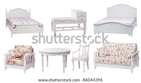 Set of bedroom and living-room furniture isolated over white, with clipping path