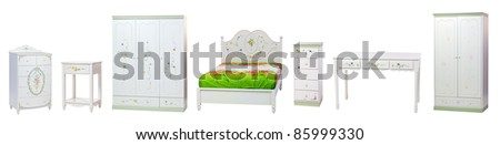 Set of bedroom furniture, with clipping path