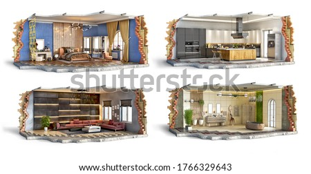 Set of bedroom, kitchen, bathroom and living room interiors, 3d illustration Stock photo ©