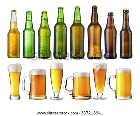 set of Beer bottles with water drops on beer glasses on white background.Five separate photos merged together.