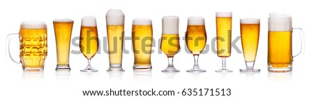 Set of beer glasses isolated on white background