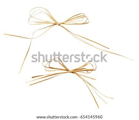 Set of beige raffia bow isolated on white Photo stock ©