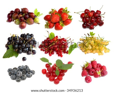 Set of berries isolated on white background - stock photo