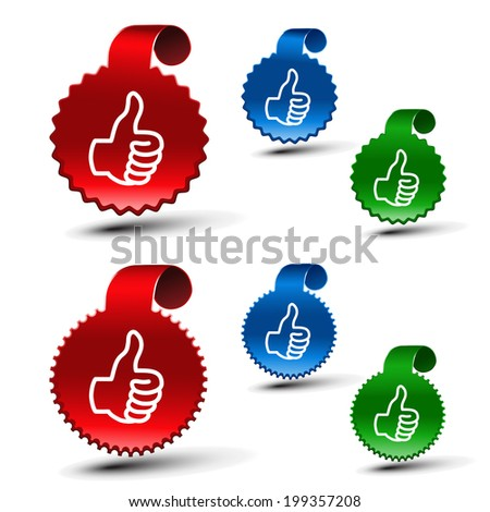 set of best choice labels, symbols of hand gesture
