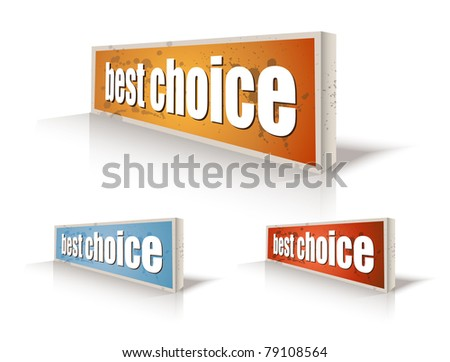 """Set of """"Best Choice"""" speech bubble sticker with transparent shadows, ready to be placed on every surface."""