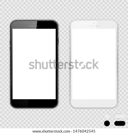 Set of big black phones with white screen on isolated background