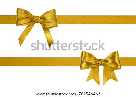 Set of big golden silk horizontal ribbons with ribbon bows isolated on white background