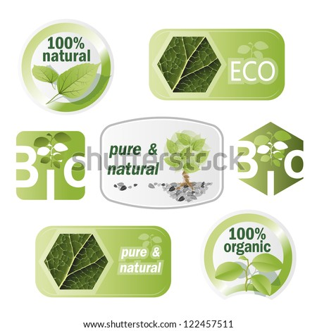 Set of bio, eco, organic elements - labels, stickers
