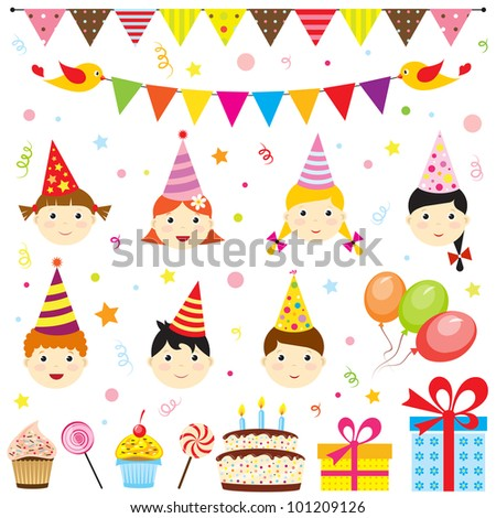 Set of birthday party elements with cute kids. Raster version