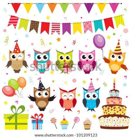 Set of birthday party elements with owls. Raster version