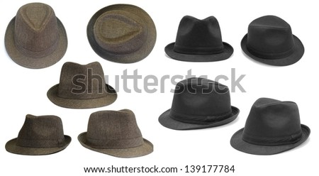 Set of black and brown hats